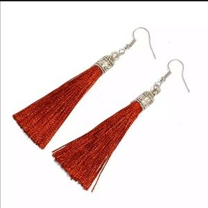 Jewelry - Bohemian silver top tassel drop earrings in coffee